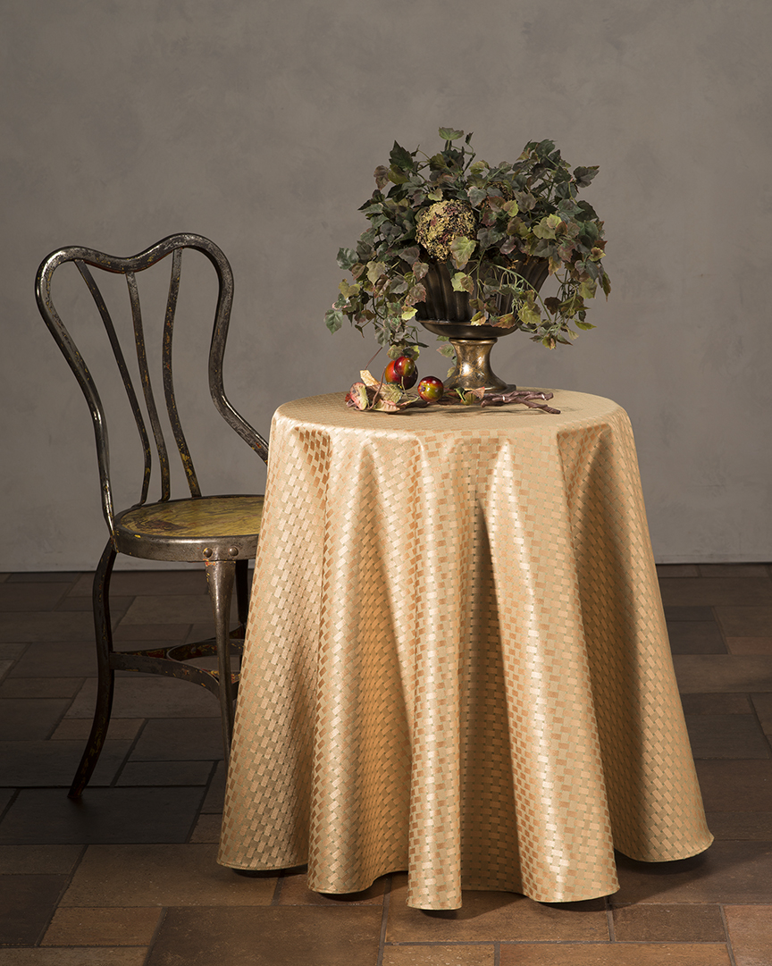 Checkers Floor Length Table Cloth Gold Gourmet Table Skirts Linens